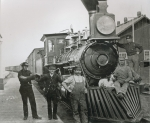 A freight train of the Central Pacific railway with crew at Mill City, Nevada, 1883 (b/w photo)