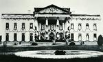 The White House draped in black following the assassination of James A. Garfield (1831-81) 1881 (b/w photo)