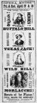 Poster for the 'Scouts of the Plains' play, starring Buffalo Bill (1846-1917) Texas Jack (1846-79) and Wild Bill Hickok (1837-76) 1873 (print)