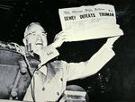 Harry S. Truman (1884-1972) jubilant at newspaper error in the 1948 Presidential election campaign, 1948 (b/w photo)