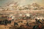 The Union attack on Marye's Heights during the Battle of Fredericksburg, 13th December 1862 (colour litho)