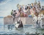 Anabaptists of Philadelphia witness a full immersion baptism in a river (colour litho)