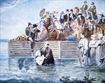 Anabaptists of Philadelphia witnessing full baptism in the river (colour litho)