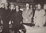 Chamberlain, Daladier, Hitler and Mussolini pictured before signing the Munich agreement, 29th September 1938 (sepia photo)