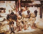 Japanese Kamikaze pilots at a Shinto temple before flying into battle, 1944-45 (photo)
