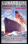 'Cunard Line - Monarchs of the Sea', poster for the Lusitania and Mauretania, 1907 (colour litho)