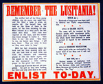 'Remember the Lusitania!', British propaganda notice to encourage enlistment, 1915 (colour litho)