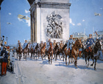 WWI victory parade passing through the Arc de Triomphe led by French Marshals Joffre and Foch, Paris, 14th July 1919 (oil on canvas)
