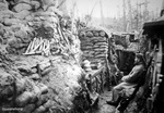 WWI 'Dornstellung' (Thorny Position) German frontline trench with steel helmets and stick grenades, 1914-18 (b/w photo)
