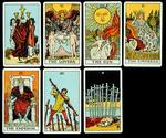 Cards from a Tarot set, c.1809 (hand coloured litho)