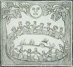 Circle of Witches Dancing Beneath a Full Moon, illustration from a collection of chapbooks on esoterica (woodcut)