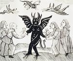 Presenting Children to the Devil, copy of an illustration from 'The Witch of the Woodlands' used in a collection of chapbooks on esoterica (woodcut)