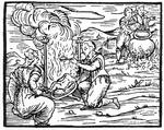 Witches roasting and boiling infants, copy of an illustration from 'Compendium Maleticarum' by Fr M Guaccius, Milan 1608, used in 'History of Magic, published late 19th century (woodcut) (b/w photo)