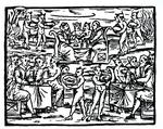 The Witches Sabbath, copy of an illustration from 'Compendium Maleticarum' by Fr M Guaccius, Milan 1608, used in 'History of Magic', published late 19th century (woodcut) (b/w photo)