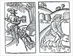 Witches disguised as animals riding a broomstick (left) and male witch riding a wolf (right), copies of illustrations from 'Compendium Maleticarum' by Fr M Guaccius, Milan 1608, used in 'History of Magic', published late 19th century (woodcut) (b/w photo)