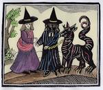 A Black and a White Witch with a Devil Animal, Illustration from a collection of chapbooks on esoterica (woodcut) (later colouration)
