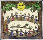 Circle of Witches dancing Beneath a Full Moon, illustration from a collection of chapbooks on esoterica (woodcut) (later colouration)