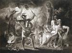 Macbeth, the Three Witches and Hecate in Act IV, Scene I of 'Macbeth' by William Shakespeare (1564-1616) published 1805 (engraving)
