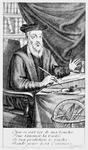Nostradamus writing his prophecies (b/w engraving)