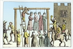 An Execution of Witches in England (engraving) (later colouration)