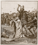 Martyrdom of Alphege, illustration from 'Cassell's Illustrated History of England' (engraving) (sepia photo)