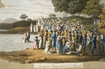 Anabaptist Ceremony in North America (colour litho)