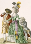 Lady of the court surrounded by male servants, engraved by Petisoier, plate no.124 from 'Galeries des Modes et Costumes Francais', c.1778-87 (coloured engraving) 99:clothing; traditional dress; traditional costume; fashion; illustration; c18th; fashionable; clothes; female; footmen; footman; servant; courtier; royal court; aristocracy; aristocrat;