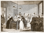 Printing-office (The Victoria Press) in Great Coram-Street, for the employment of women as compositors, illustration from 'The Illustrated London News', 1861 (litho)