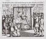The description of the cruel martyrdom of Sir John Oldcastle, Lord Cobham, illustration from 'Acts and Monuments' by John Foxe, ninth edition, pub. 1684 (litho)