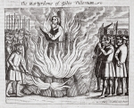The martyrdom of Giles Tilleman, illustration from 'Acts and Monuments' by John Foxe, ninth edition, pub. 1684 (litho)