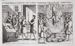 Mr Thomas Bilney, proving the fire with his finger, and The burning of the godly and constant martyr Mr Thomas Bilney, illustration from 'Acts and Monuments' by John Foxe, ninth edition, pub. 1684 (litho)