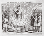 The martyrdom of Richard Bayfield, illustration from 'Acts and Monuments' by John Foxe, ninth edition, pub. 1684 (litho)