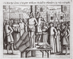 The martyrdom of master William Tindall in Flanders, by Vilvord Castle, illustration from 'Acts and Monuments' by John Foxe, ninth edition, pub. 1684 (litho)