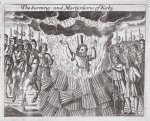 The burning and martyrdom of Kerby, illustration from 'Acts and Monuments' by John Foxe, ninth edition, pub. 1684 (litho)