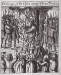 The burning of the blessed martyr Thomas Tomkins, illustration from 'Acts and Monuments' by John Foxe, ninth edition, pub. 1684 (litho)