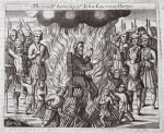 The cruel burning of John Laurence martyr, illustration from 'Acts and Monuments' by John Foxe, ninth edition, pub. 1684 (litho)