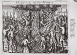 The burning of four martyrs, illustration from 'Acts and Monuments' by John Foxe, ninth edition, pub. 1684 (litho)