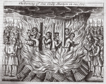 The burning of six godly martyrs in one fire, illustration from 'Acts and Monuments' by John Foxe, ninth edition, pub. 1684 (litho)