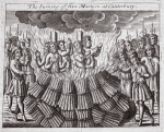 The burning of five martyrs at Canterbury, illustration from 'Acts and Monuments' by John Foxe, ninth edition, pub. 1684 (litho)