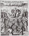 The burning of William Wolsey and Robert Pygot, martyrs, illustration from 'Acts and Monuments' by John Foxe, ninth edition, pub. 1684 (litho)
