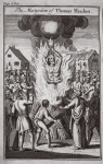 The martyrdom of Thomas Haukes, illustration from 'Foxes Martyrs' c.1703 (litho)