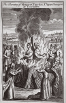 The burning of Margaret Thurston and Agnes Bongeor at Colcester, illustration from 'Foxes Martyrs' c.1703 (litho)