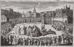 The martyrdom of Dr Ridley and Mr Latimer at Oxford, Dr smith preaching at the time of their suffering, illustration from 'Foxes Martyrs' c.1703 (litho)