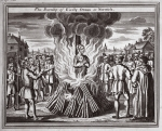 The burning of Cicely Ormes at Norwich, illustration from 'Foxes Martyrs' c.1703 (litho)