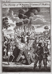 The burning of W. Seaman, T. Carman and T. Hudson at Norwich in 1558, illustration from 'Foxes Martyrs' c.1703 (litho)