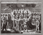 The burning of Woodman, Stevens, Mainard, Hofman, Wood, Master J. Morris, Burges, Ashdon and Groves at Lewes, illustration from 'Foxes Martyrs' c.1703 (litho)