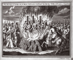 The burning of J. Fishcock, N. White, N. Pardue, B. Final, Bradbridge, Wilson and Benden at Canterbury, illustration from 'Foxes Martyrs' c.1703 (litho)