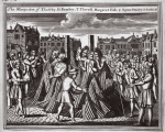 The martyrdom of T. Loseby, H. Ramsey, T. Thirtell, Margaret Hide and Agnes Stanley in Smithfield, illustration from 'Foxes Martyrs' c.1703 (litho)