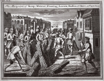 The martyrdom of Kemp, Waterer, Prowting, Lowick, Hudson and Haies at Canterbury, illustration from 'Foxes Martyrs' c.1703 (litho)