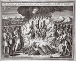 The burning of Katherine Cawches and her two daughters in the Isle of Garnsey, illustration from 'Foxes Martyrs' c.1703 (litho)